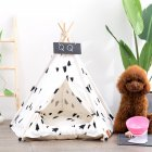 Pet Tent Foldable Breathable Printing House with Sleeping Mat for Medium Large Dogs Black pine tree  with mat  S