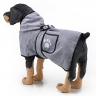 Pet Thick Bath Towel Cat Dog Quick-drying Pet Cloak Bathrobe gray_M