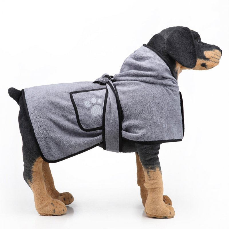 Pet Thick Bath Towel Cat Dog Quick-drying Pet Cloak Bathrobe gray_S