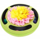 Pet Turntable Ball Track Interactive Toy Slow Feeding Training Snuffling Toy for Cats green 30 30 12CM