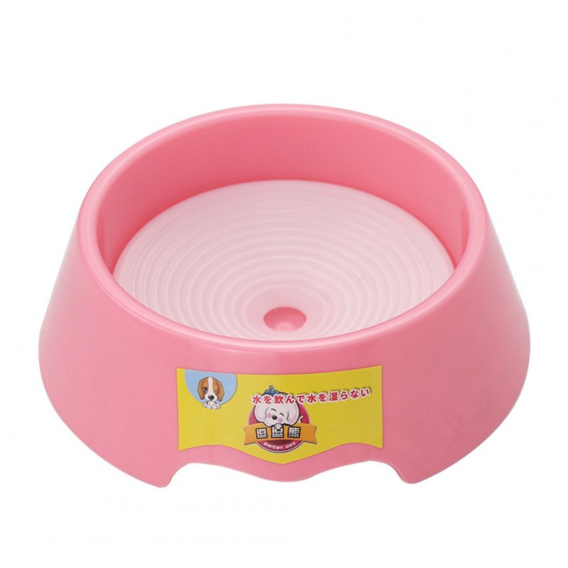 Pet Water Bowl Not Wet Mouth Flotage Drinking Bowl for Dog Cat Pink