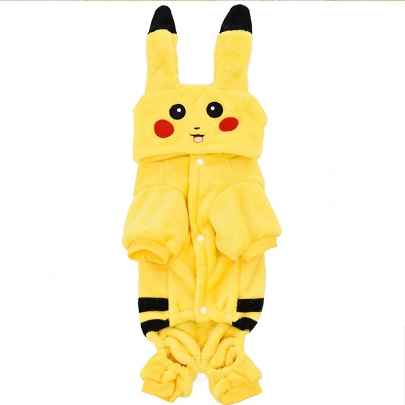Pet Yellow Cartoon Figure Shape Coral Fleece Cosplay Coat for Autumn Winter Wear