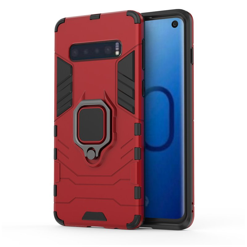 Phone Case Back Cover Hidden Bracket Phone Shell for Note 10pro S10plus TPU  red_J4 (2018)