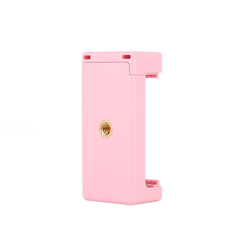 Phone Clamp Quick Release Clip Tripod Mount with 1/4 inch Screw Hole for Smartphone Pink