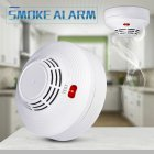 Photoelectric Smoke Alarm LED Light Flashing & Sound Warning Smoke Alert Detector for Home School Hotel white
