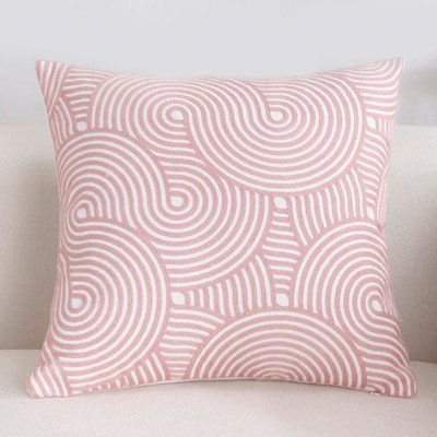 Pink Embroidery Throw Pillow Cover for Sofa Decoration C embroidery wheat field bubble - pink_45*45cm individual pillowcase