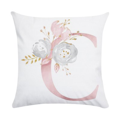 Pink Letter Printing Polyester Peach Skin Throw Pillow Cover 3#_45*45cm
