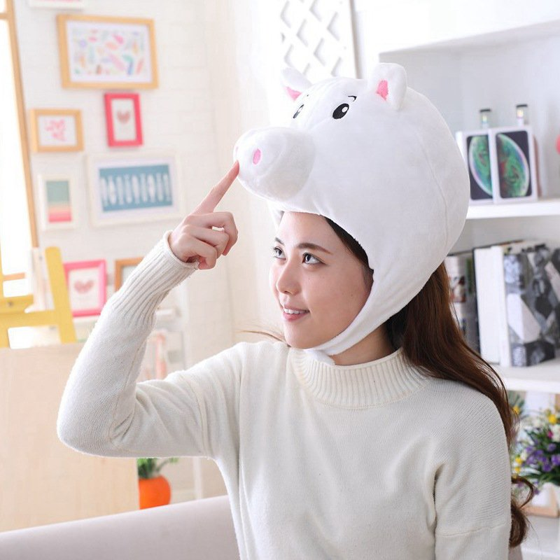 Pink Pig Shaped Cute Short Plush Headwear Photo Props Pig Hat White