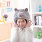 Pink Pig Shaped Cute Short Plush Headwear Photo Props Pig Hat gray