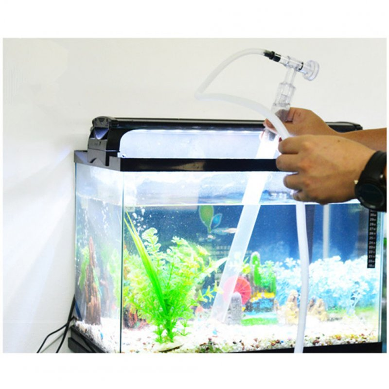 Plastic Aquarium Syphon Water Cleaner Fish Tank Gravel Sand Cleaner Vacuum Siphon Water Filter Cleaning Tool Transparent