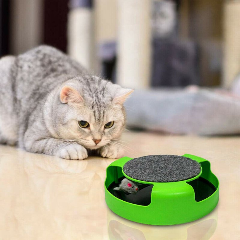 Plastic Cats Toy Scratch Mouse Board Funny Turntable Pet Cats Toy green