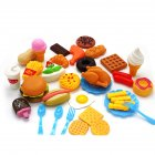 Plastic Fast Food Playset Mini Hamburg French Fries Hot Dog Ice Cream Cola Food Toy for Children Pretend Play Gift for Kids