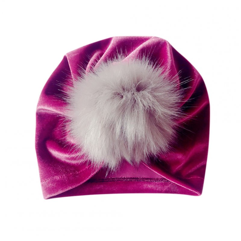 Pleuche Ball Pompom Bobble Hat Lovely Newborn Baby Cap Elastic Turban Artificial Kids Hat