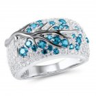 Plum Branch Ring Creative Inlaid Diamond Ring Silver Classic Crystal Wedding Light blue zircon