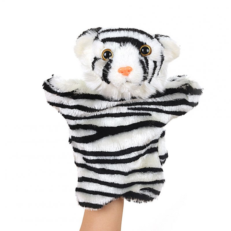 Plush Doll Interactive Animal Plush Hand Puppets for Storytelling Teaching Parent-child White striped tiger