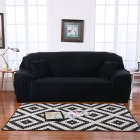 Plush Stretch Sofa Covers Stylish Furniture Cushions Sofa Slipcovers Winter Cover Protector  black_Double 145-185cm