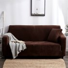 Plush Stretch Sofa Covers Stylish Furniture Cushions Sofa Slipcovers Winter Cover Protector  coffee_Three people 190-230cm