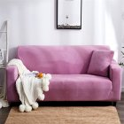Plush Stretch Sofa Covers Stylish Furniture Cushions Sofa Slipcovers Winter Cover Protector  Light purple_Three people 190-230cm