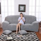 Plush Stretch Sofa Covers Stylish Furniture Cushions Sofa Slipcovers Winter Cover Protector  Light gray_Three people 190-230cm