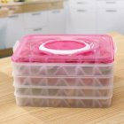 Portable 4 Layers Non-stick Storage Box with Lid Handle for Refrigerator Dumplings Preservation Pink_Four layers