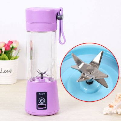 Portable 6 Blades USB Charging Eletric Fruit Juicer Blender purple_380ML