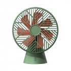 Portable 7 Blades Handheld Small Fan USB Charging Desktop Fan for Home Bedside green_Plug-in version