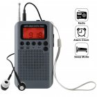 Portable AM FM Two Band Radio with Alarm Clock & Sleep Timer Digital Tuning Stereo Radio with 3.5mm Headphone Jack for Walking Jogging Camping gray
