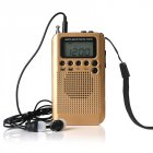 Portable AM FM Two Band Radio with Alarm Clock & Sleep Timer Digital Tuning Stereo Radio with 3.5mm Headphone Jack for Walking Jogging Camping Gold