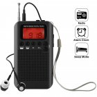 Portable AM FM Two Band Radio with Alarm Clock & Sleep Timer Digital Tuning Stereo Radio with 3.5mm Headphone Jack for Walking Jogging Camping black