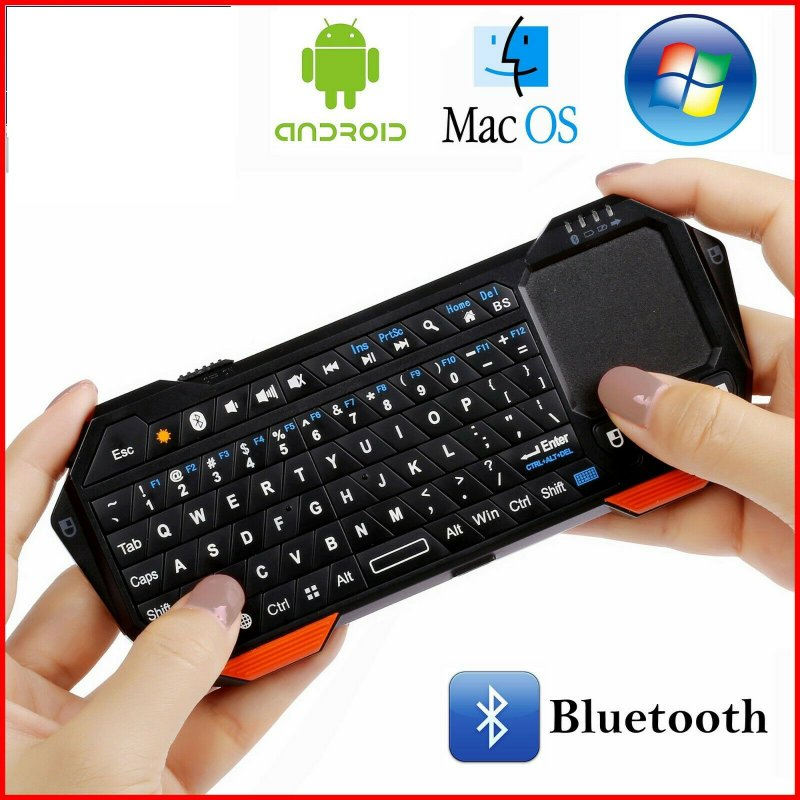 Portable Backlit Mini Wireless Bluetooth Keyboard Touchpad for iOS Android Windows  black