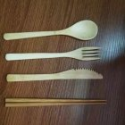Portable Bamboo Cutlery Set for Kitchen Food Fruit Jam Dinner Tableware
