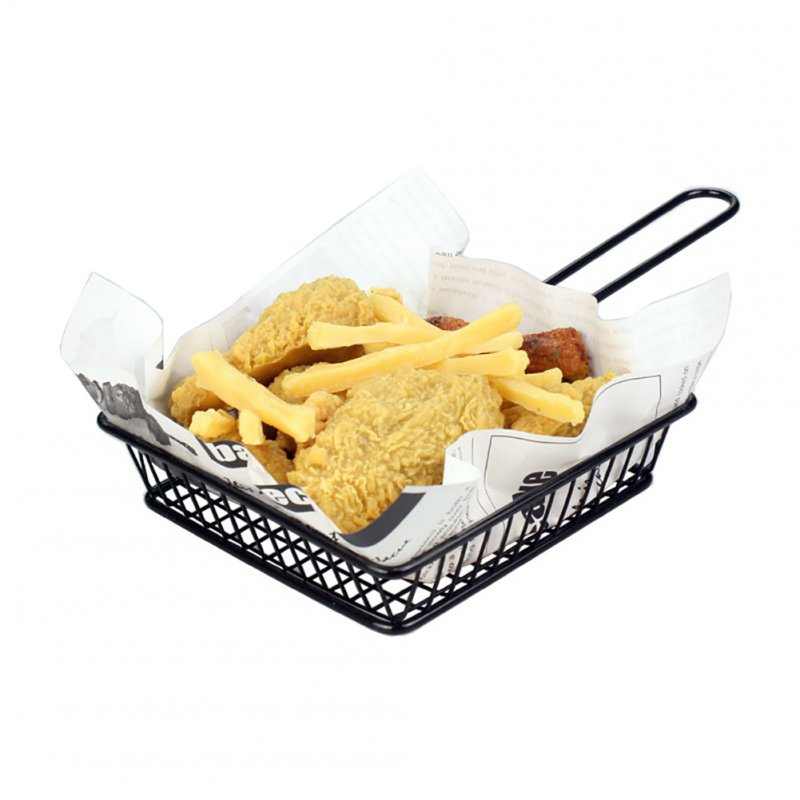 Portable Black Iron Wire Mini Frying Basket Strainer Fryer for Kitchen Chef Chicken Wings French Fries Cooking  black_square