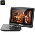 Portable DVD Player with 13 3 Inch 270 Degree Swivel Screen has Copy Function and is ideally sized for you to enjoy your media while you travel