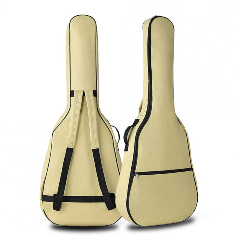 Portable Double Straps Acoustic Guitar Soft Carry Case Gig Bag  creamy-white