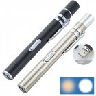 Portable Dual Light Source LED Stainless Steel Medical Nursing Penlight Flashlight for Medical Students Doctors Silver