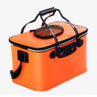 Portable EVA Folding Bucket Water Tank Fish Storage Box for Live Fish Orange 45cm (with strap )