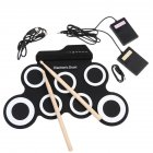 Portable Electronic Drum Digital USB 7 Pads Roll up Drum Set Silicone Electric Drum Pad Kit with DrumSticks Foot Pedal black