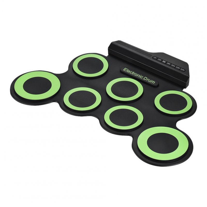 Portable Electronic Drum Digital USB 7 Pads Roll up Drum Set Silicone Electric Drum Pad Kit with DrumSticks Foot Pedal green