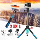 Portable Extendable Monopod Selfie Stick Tripod Bluetooth Remote for Phone Camera GoPro blue