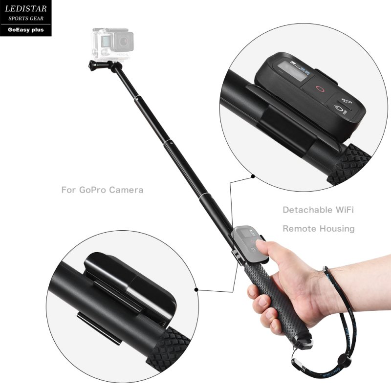 Portable Extendable Selfie Stick for Phone Camera GoPro red
