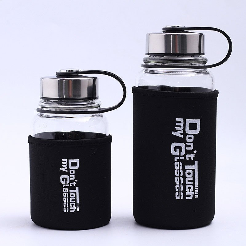 Portable Glass Water Bottle with Protective Bag, 1000ml/700ml Sports Outdoor Water Bottles, Travel Heat proof Drinking Teapot Black