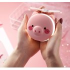 Portable Handheld Fan with LED Fill Light Makeup Mirror Mini USB Charging Fan Round eye pig makeup mirror fan_8.5 * 3.5 * 10