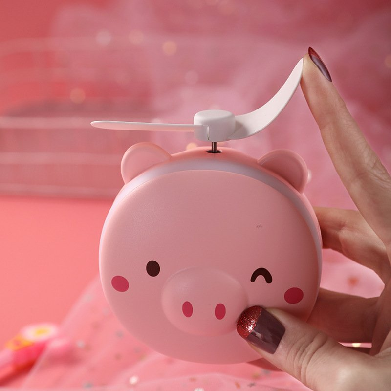 Portable Handheld Fan with LED Fill Light Makeup Mirror Mini USB Charging Fan Pink Pig Winking Makeup Mirror Fan_8.5 * 3.5 * 10