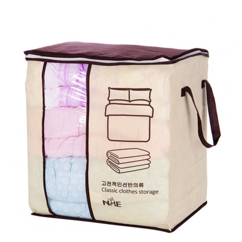 Portable High Capacity Non-woven Clothes Storage Bag Folding Closet Organizer for Pillow Quilt Blanket Bedding Korean style