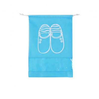 Portable Large Capacity Waterproof Drawstring Shoes Bag for Travel Storage  sky blue_Medium