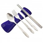 Portable Lunch Tableware Cutlery Set Stainless Steel Spoon Fork Cutter Chopsticks Travel Outdoor Purple