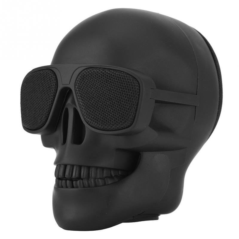 Portable Mini Skull Head Speaker Wireless Bluetooth Stereo Speaker HD Bass Speaker black