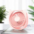 Portable Mini Tabletop Usb Charging Fan for Student Dormitory Cherry pink