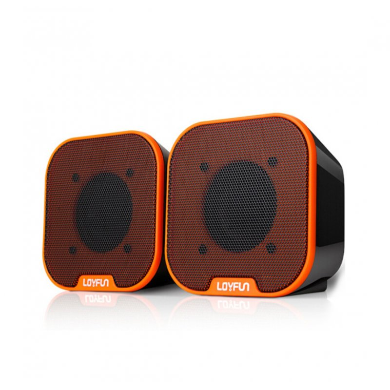 Portable Mini USB 2.0 Stereo Music Speakers for Desktop Computers Laptops Notebooks Home Theaters Orange