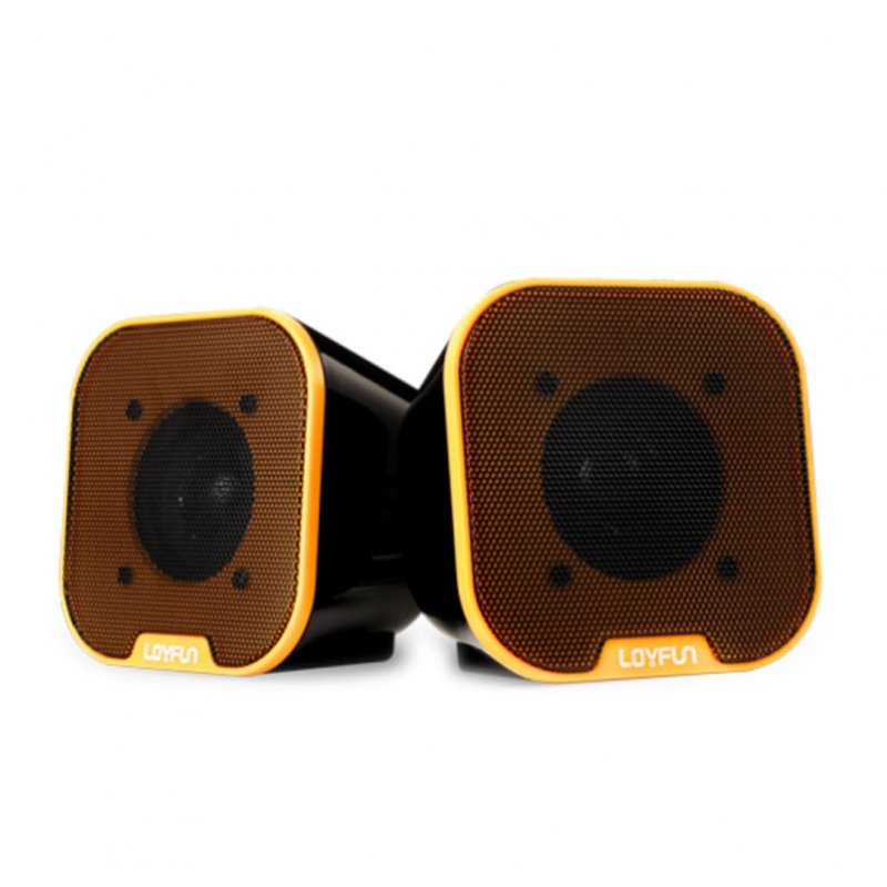 Portable Mini USB 2.0 Stereo Music Speakers for Desktop Computers Laptops Notebooks Home Theaters Yellow